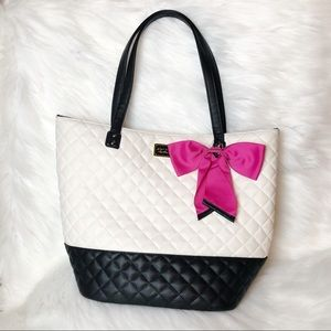 Betsey Johnson Diamond Quilted Bow Tote Be Mine